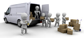 image of moving van  - 3D removal van and men with boxes isolated - JPG