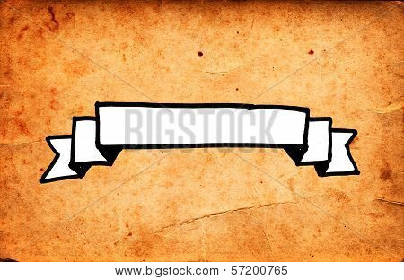 Hand Drawn Ribbon Banner On Grunge Paper Background
