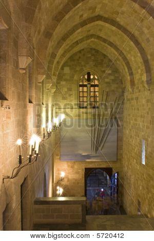 Main interior entrance at the knights palace in Rhodes island
