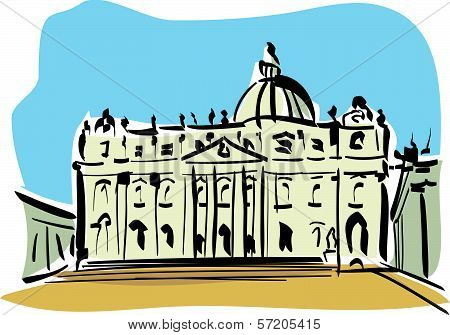 Rome illustration of st. Peter's Basilica)