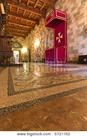 Interior of Templar knights palace in Rhodes island, Greece