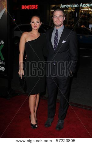 Stephen Amell and Cassandra Jean at the premiere of HBO's