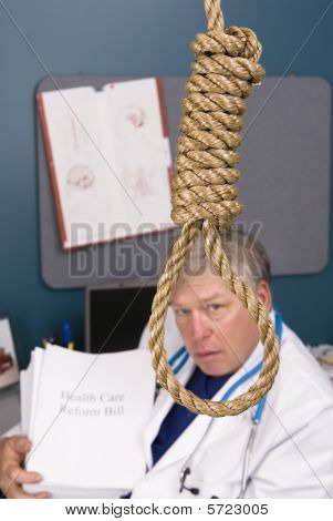 Doctor, Noose And Pile Of Paperwork