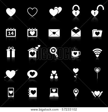 Love Icons With Reflect On Black Background
