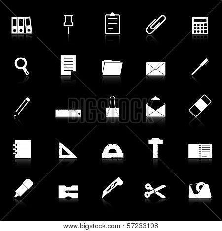 Stationary Icons With Reflect On Black Background