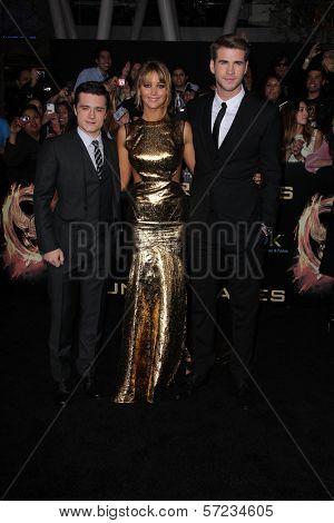 Josh Hutcherson, Jennifer Lawrence, Liam Hemsworth at