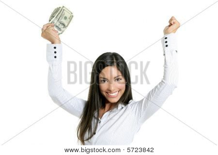Beautiful Success Businesswoman Holding Dollar Notes