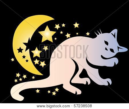 cat sleeping with stars and moon in night sky