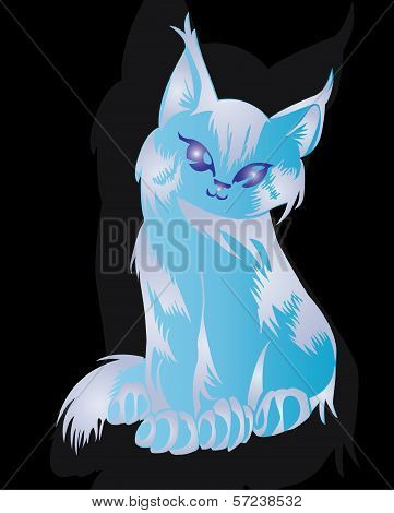 Decorative blue cute cat ornamen ,tattoo design