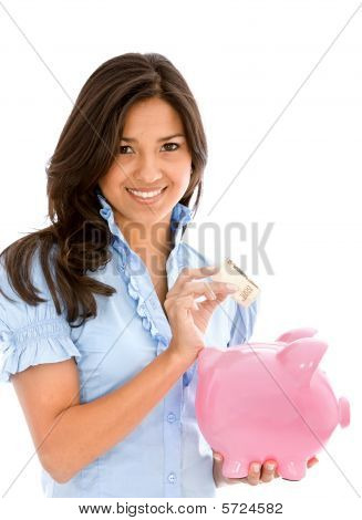 Female Saving Money