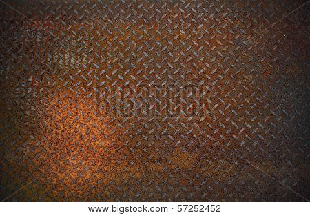 Dirty Old Rust Diamond Metal Plate