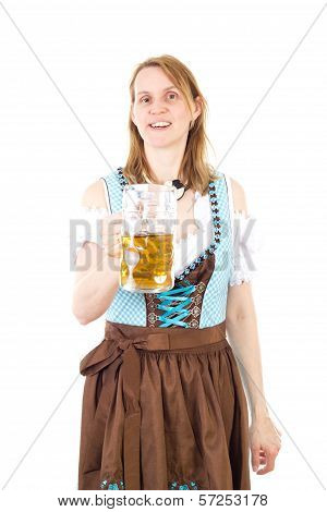 Beautiful Woman Wearing Dirndl And Holding Beer Glassware