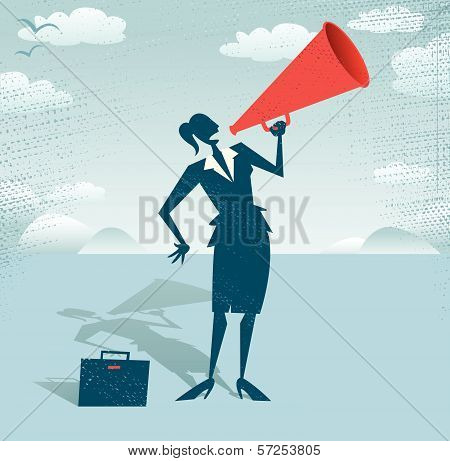 Abstract Businesswoman with Megaphone.