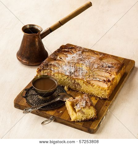 Danish Apple Cake And  Cup Of Coffee