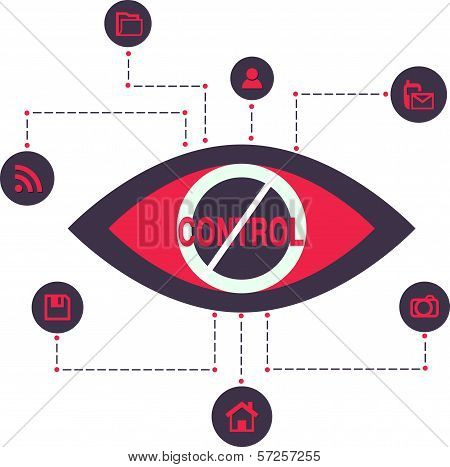 Total Control and secret Spy surveillance technology Vector Illustration Icons flat scheme