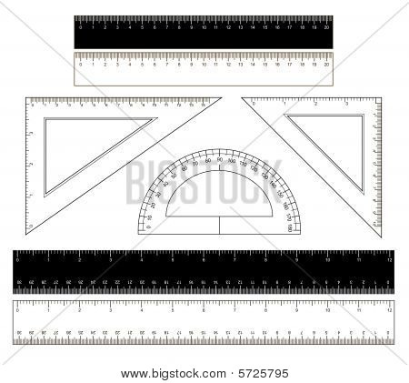 School Rulers On A White Background