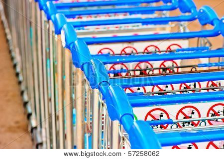 Luggage Carts At The Airport Of Antalya