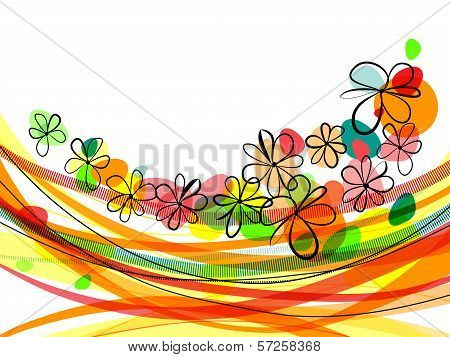 Bright Horizontal Floral Background With Flying Colorful Flowers. Eps10