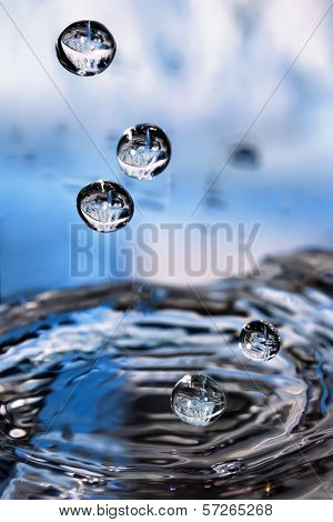 Splashed Water Drops. Fresh, Blue Water. Natural Background.