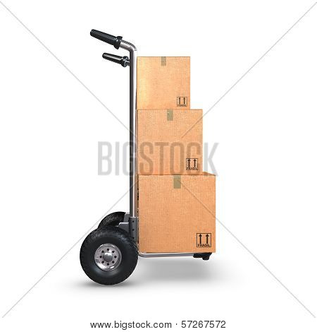 Hand Truck With Three Boxes Upright Profile