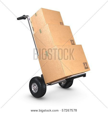 Hand Truck Tilted With Three Boxes