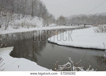 Snowfall On The River