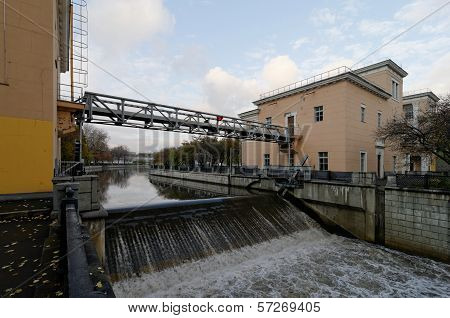 Lock On Yauza River In Moscow