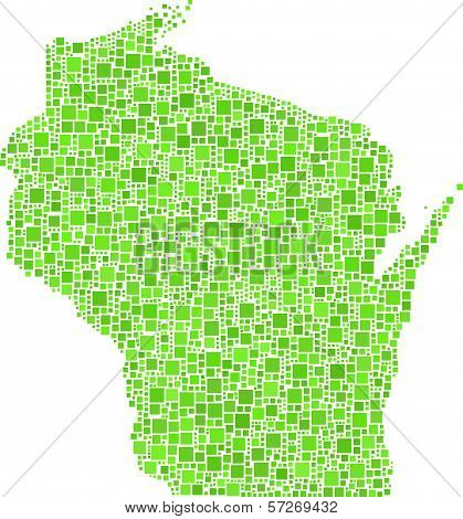 Isolated map of Wisconsin - USA