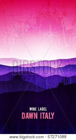Vector wine label with the landscape