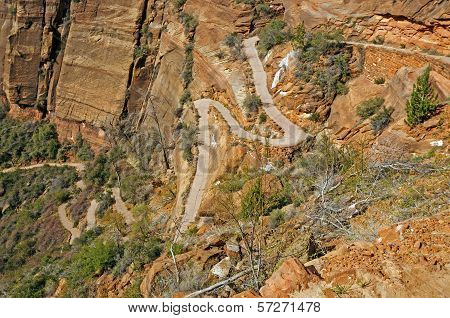 Switchbacks Heading Up A Canyon Trail