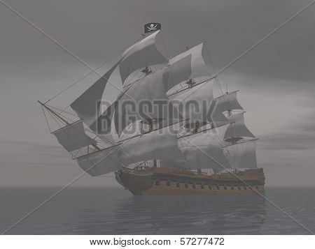 Pirate ship in fog- 3D render
