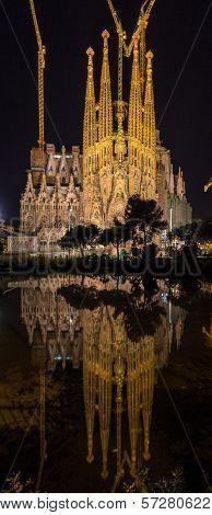 Sagrada Familia Cathedral, Vertical Panorama. Barcelona, Spain