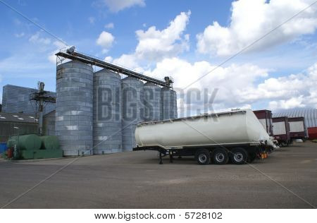 Flour mill. Storage bins. Transport. Trailors