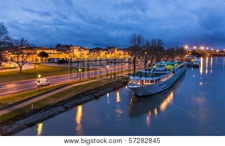 A Boat At Avignone Moorage - France