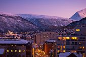 stock photo of tromso  - Aerial view of Tromso Cityscape at dusk Norway - JPG