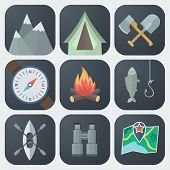 stock photo of ax  - Set of Camping Flat App Icons on Light Background - JPG