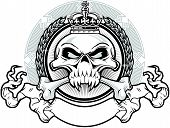 stock photo of skull crossbones  - vector royal skull wearing crown with ribbon and background - JPG