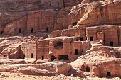 picture of petra jordan  - Rock cut nabatean tombs in at Petra in the Jordanian desert - JPG