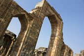 stock photo of qutub minar  - carved wall and pillars in qutub minar - JPG