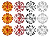stock photo of maltese-cross  - Illustration of three slightly different firefighter or fire department Maltese Cross symbols - JPG