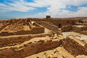 picture of masada  - Antique Ruins of fortress Masada in Israel - JPG
