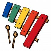 stock photo of idiophone  - hand drawn sketch cartoon illustration of xylophone - JPG