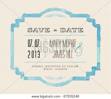 Save the date with watercolor frame. Retro stile hand drawn ornament. Vector illustration