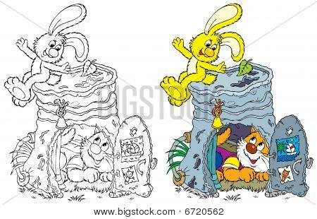 Yellow bunny and homeless kitten