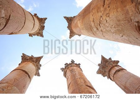 Columns of the Roman Temple of Artemis in Jerash, Jordan