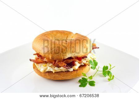 Bacon & Egg Sandwich On An Onion Bagel