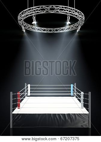 Boxing Ring In Dark