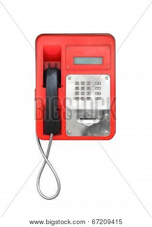 Red Pay-phone Isolated On White