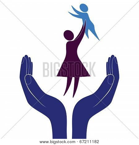 Mother and child symbols in supporting hand. Vector illustration.