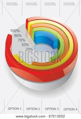 Vector segmented pie chart on the white background. Infographic element. Vector illustration